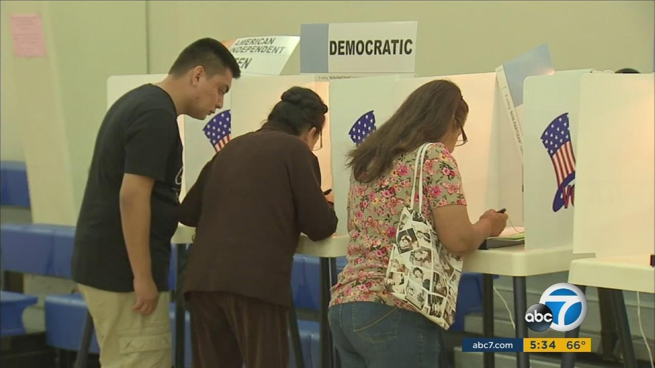 Californians cast their vote in this photo.