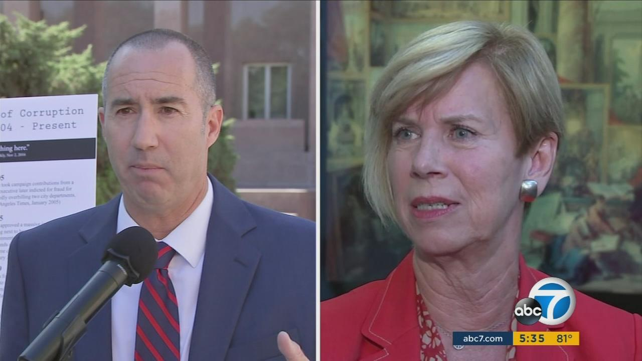 Steve Napolitano and Janice Hahn are shown in a split screen image.
