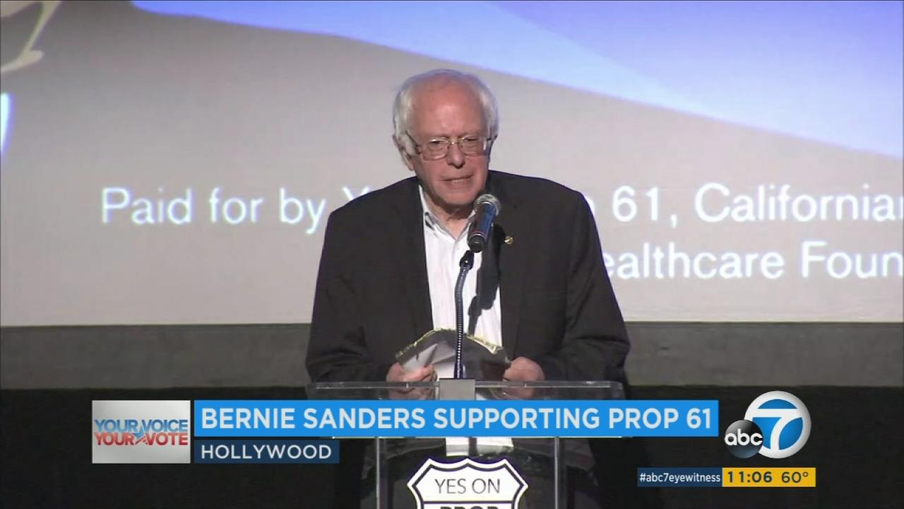 Sen. Bernie Sanders campaigned in support of Prop 61 in Hollywood on Sunday, Nov. 6, 2016.