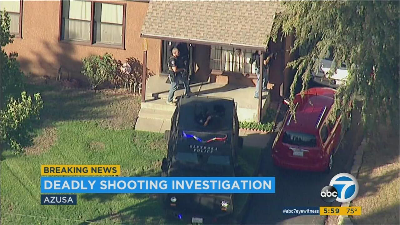 Two men were dead, including a gunman, and two women were hospitalized Tuesday afternoon after police responded to an initial shooting in Azusa exchanged gunfire with the suspect, authorities said.
