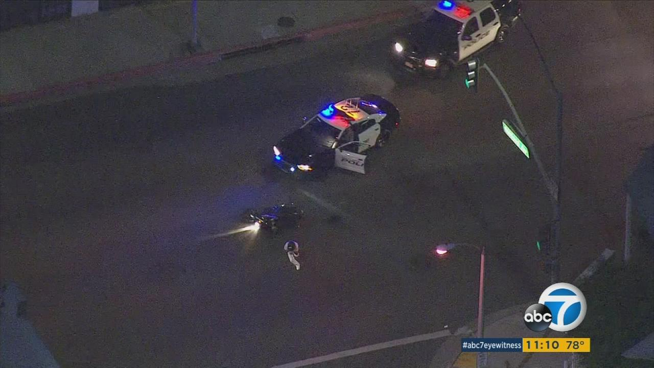 A suspect led authorities on a chase through the streets of South Gate and other cities before crashing into another car and being taken into custody Wednesday night.