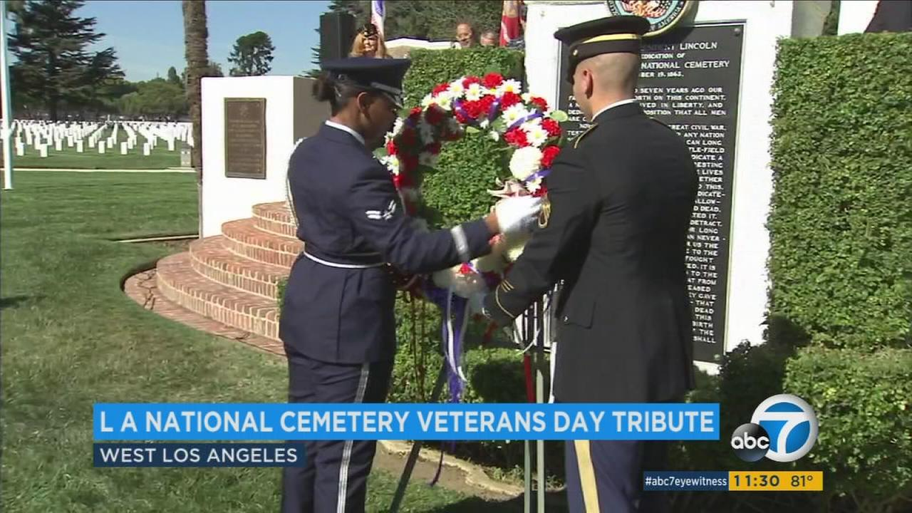 Many gathered at the Los Angeles National Cemetery to pay tribute to veterans on Veterans Day Friday, Nov. 11, 2016.