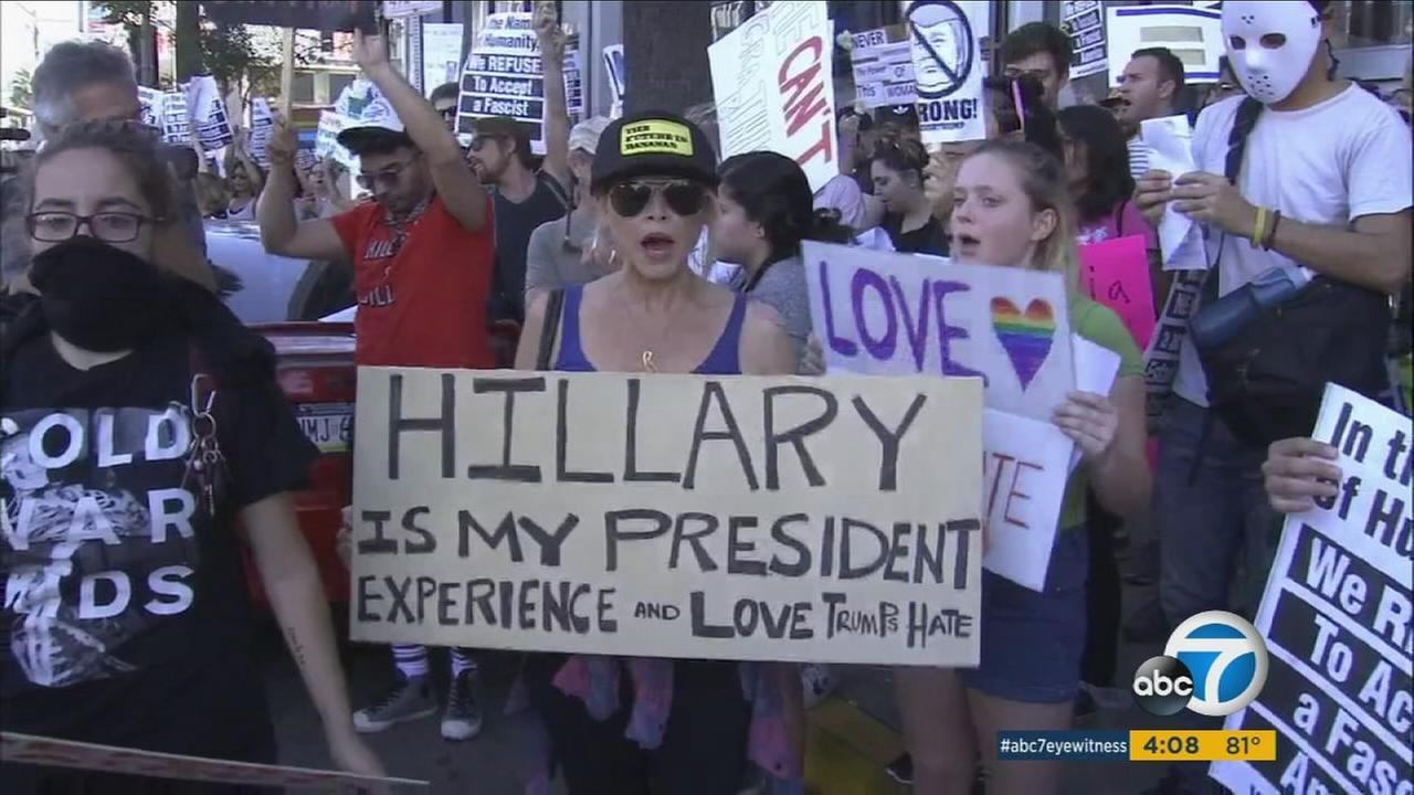 Hundreds gathered in front of CNN in Hollywood to protest President-elect Donald Trump on Sunday, Nov. 13, 2016.