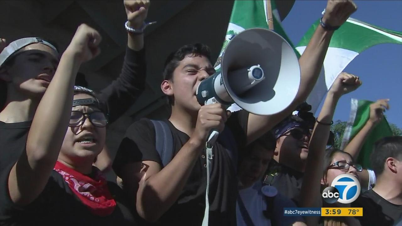 Students in Los Angeles held a walkout and called for unity following the results of the election on Monday, Nov. 14, 2016.