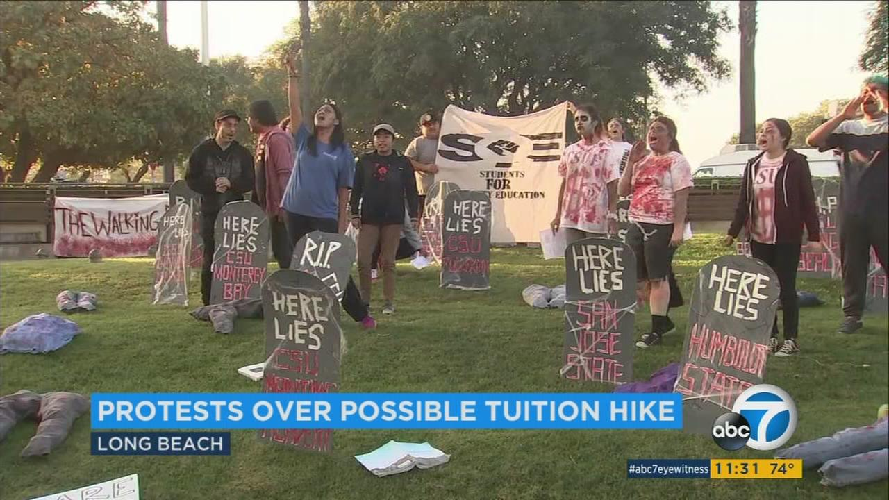 Students protest at California State University, Long Beach, over the possibility of a tuition increase.