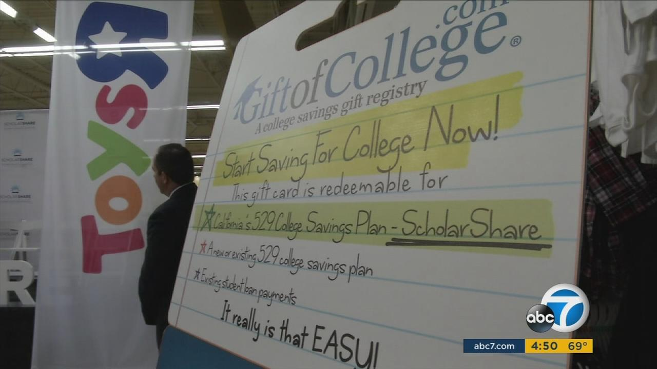A replica of the college gift card is shown a billboard explaining what the card does during an event.