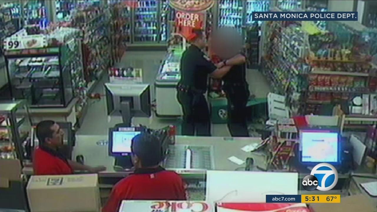 A Santa Monica police officer was attacked inside a convenience store by a man who just got out of prison for an altercation with the same cop just a few months earlier, police said.