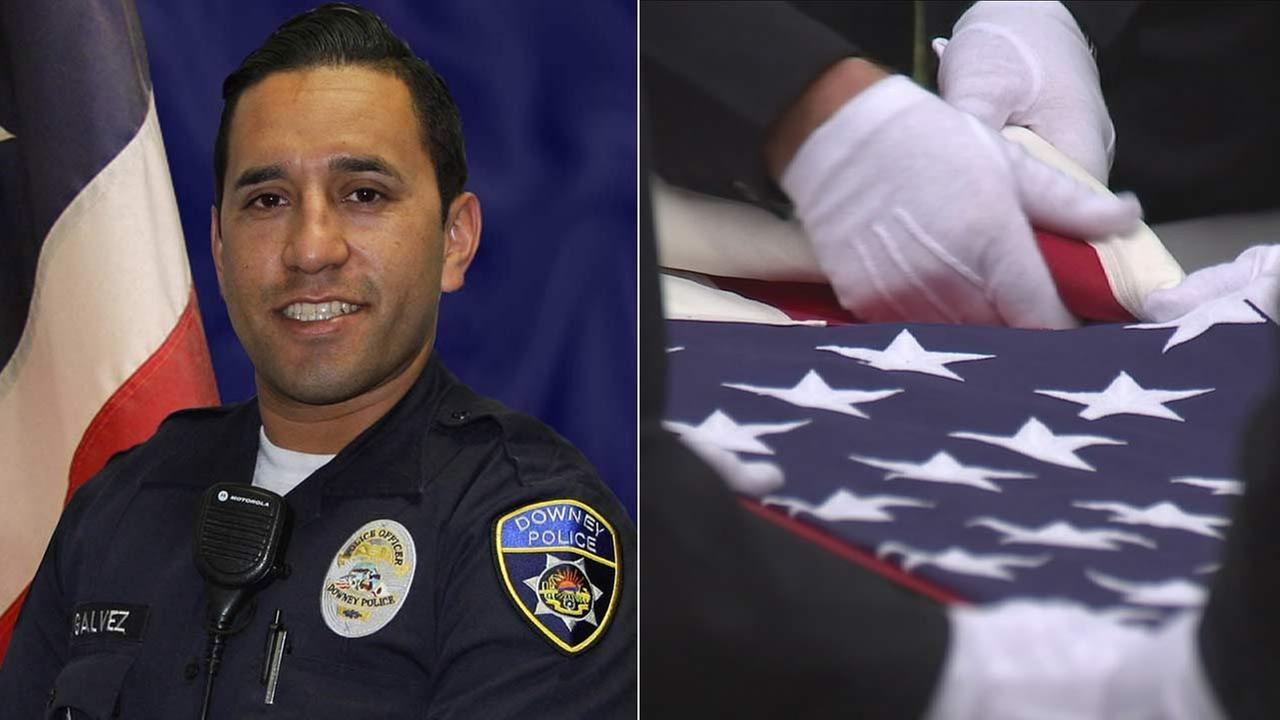 A flag is folded during a plaque dedication ceremony to honor fallen Downey police officer Ricardo Ricky Galvez, left, who was gunned down in November 2015.