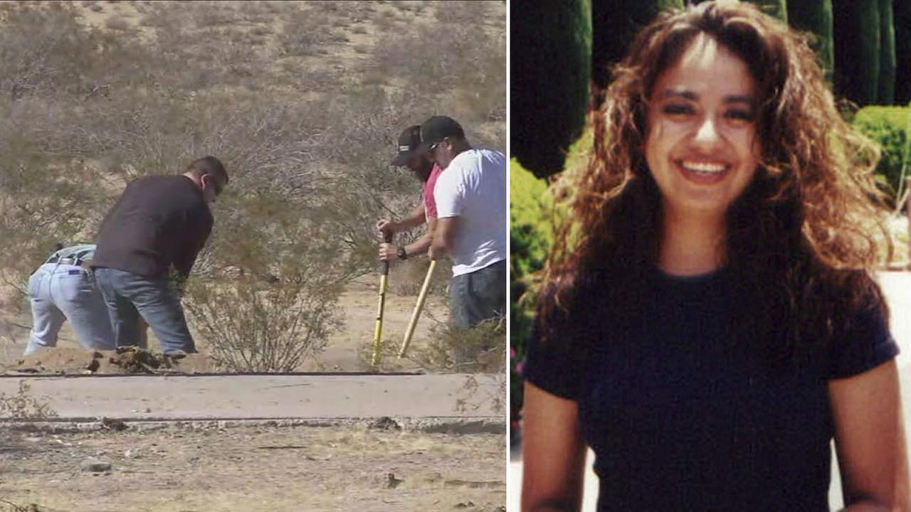 People digging in an excavation site in Ridgecrest are shown alongside an undated photo of missing Long Beach woman Diana Rojas.