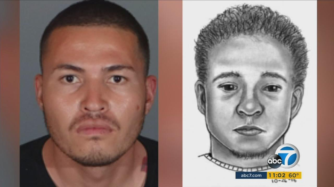 Authorities released a photo of Salvador Martinez, 28, of Maywood, who is suspected of rape. He is shown alongside a sketch of a suspect tied to other attacks.