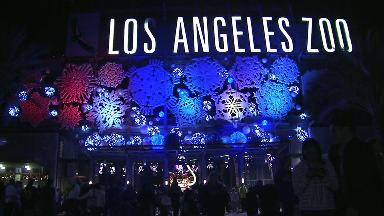 A file photo shows the entrance to the Los Angeles Zoo during its holiday celebration.