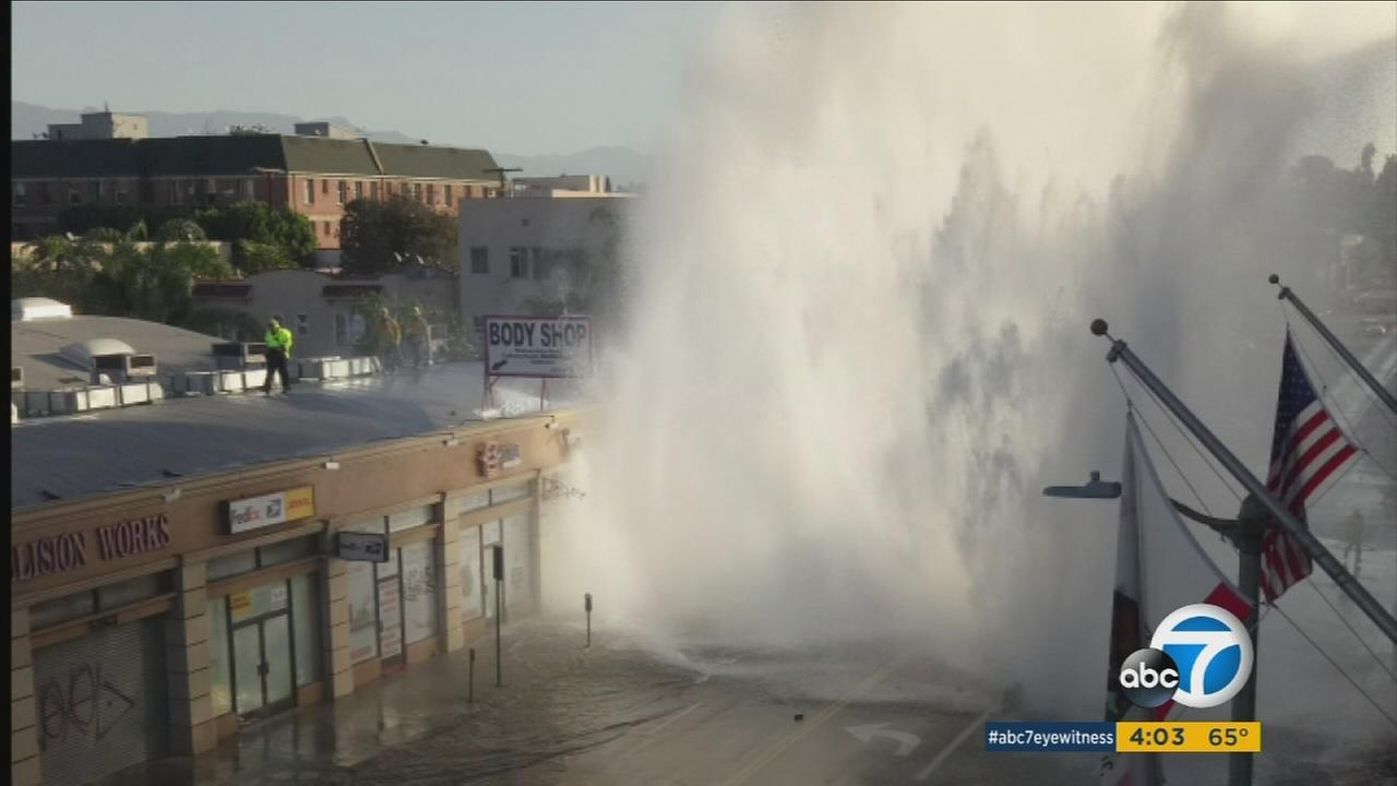 A ruptured water main triggered a massive geyser in Larchmont on Tuesday morning, causing street flooding in the area.