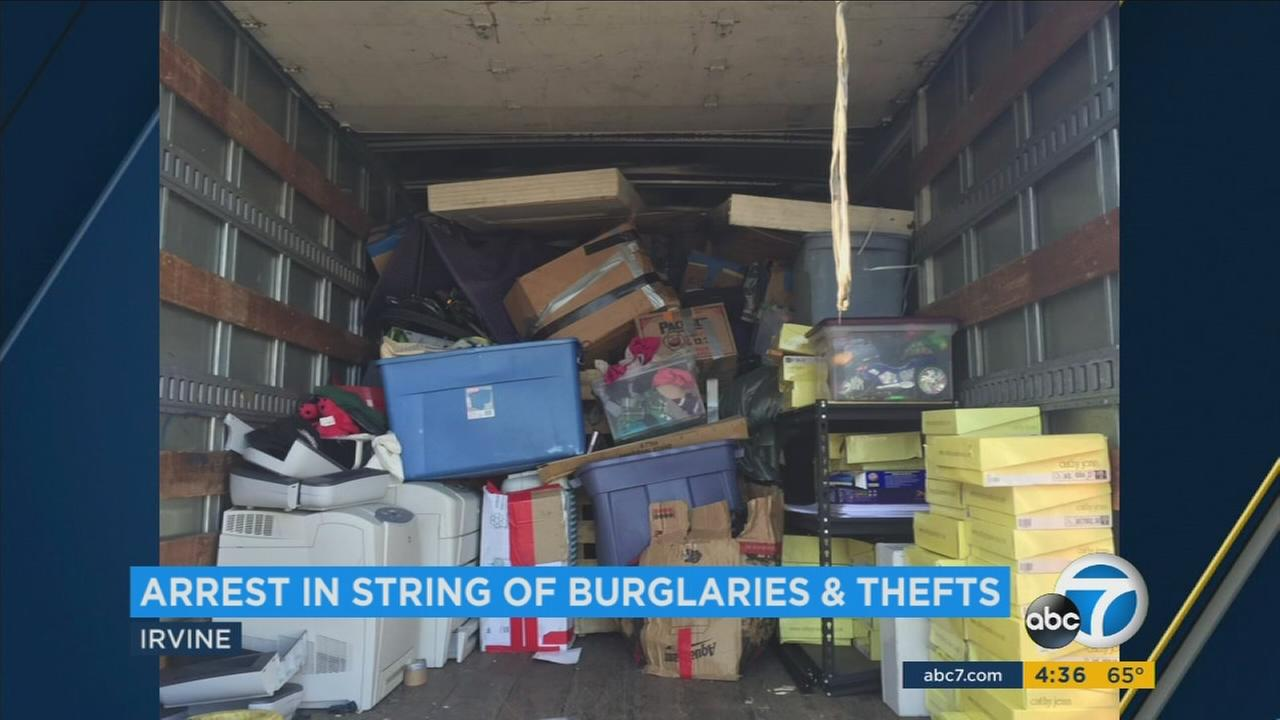 Tubs of stolen mail and property were confiscated following the arrest of Lorena Guadalupe Arreguin, a member of a trio of storage unit burglars.