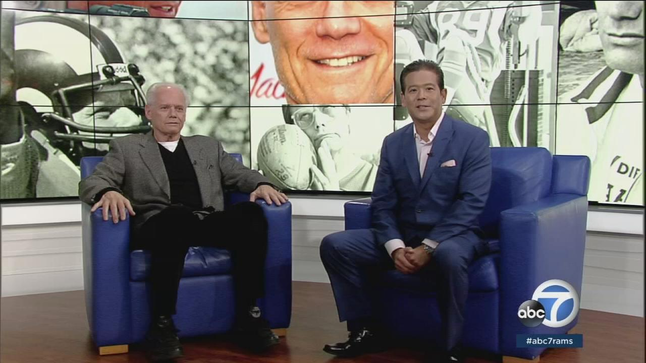 Former Los Angeles Rams player and actor Fred Dryer is shown in the Rams Primetime Saturday studio with host Rob Fukuzaki.
