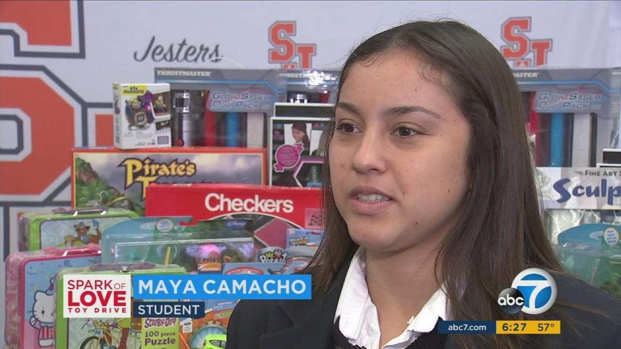 Maya Camacho, a student at St. Joseph High School in Lakewood, helped collect toys and sports equipment for underserved children.