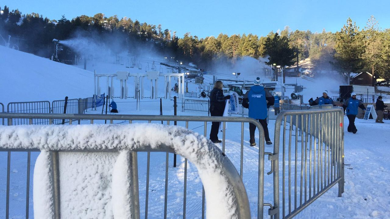 Snow covers the Mountain High Ski Resort in Wrightwood, which opened Tuesday, Nov. 29, 2016.