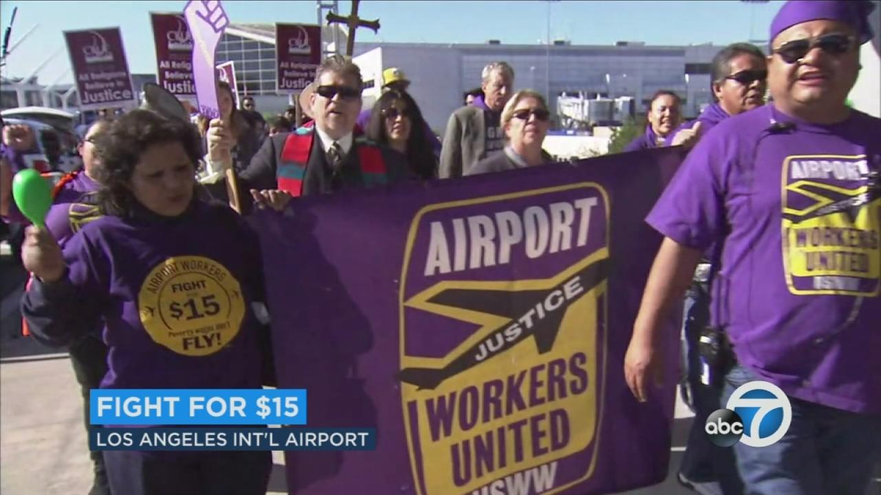 Minimum-wage workers protest Fight for $15 near Los Angeles International Airport on Tuesday, Nov. 29, 2016.
