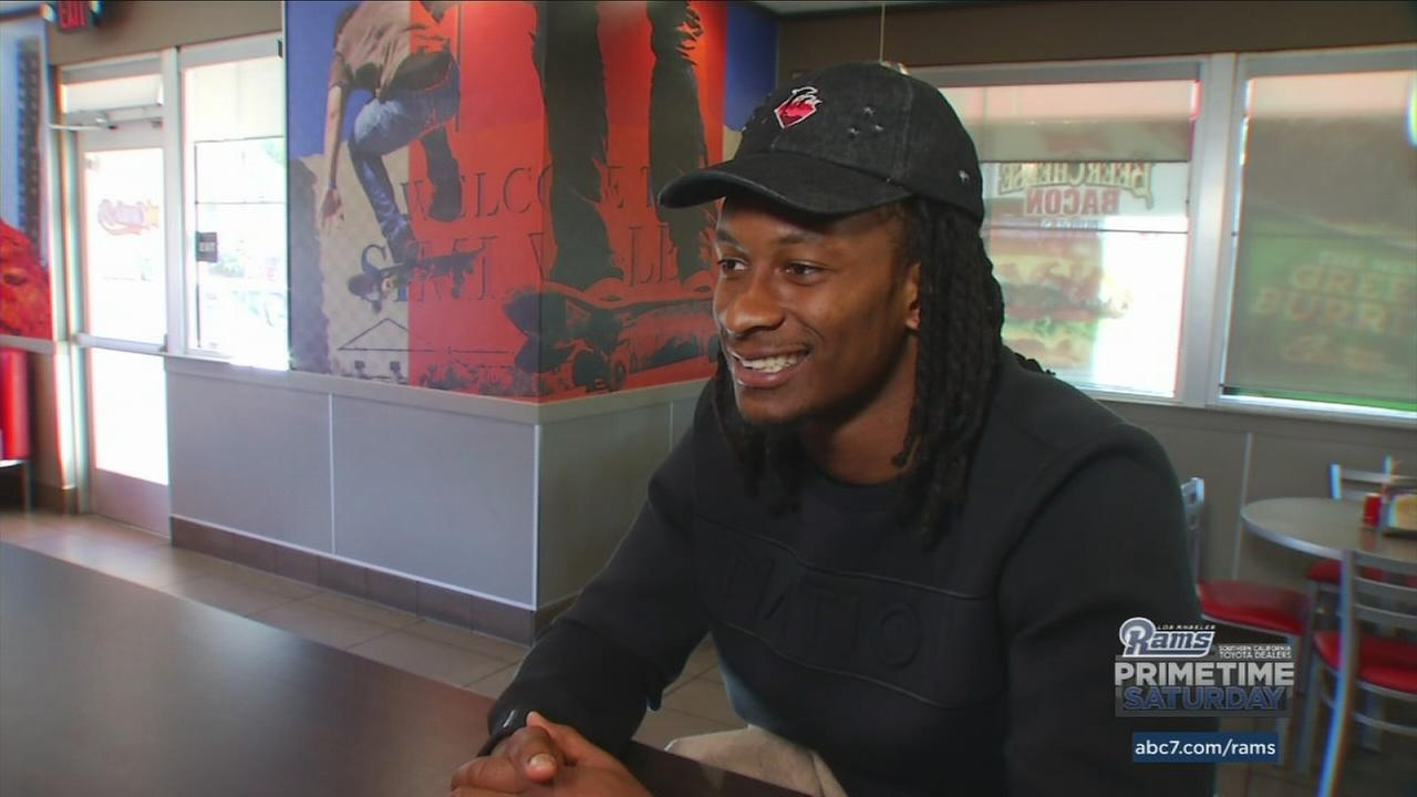 In an interview with ABC7s Rob Fukuzaki, Rams running back Todd Gurley talked about his appreciation for fans support, living in Los Angeles, and his favorite actor.