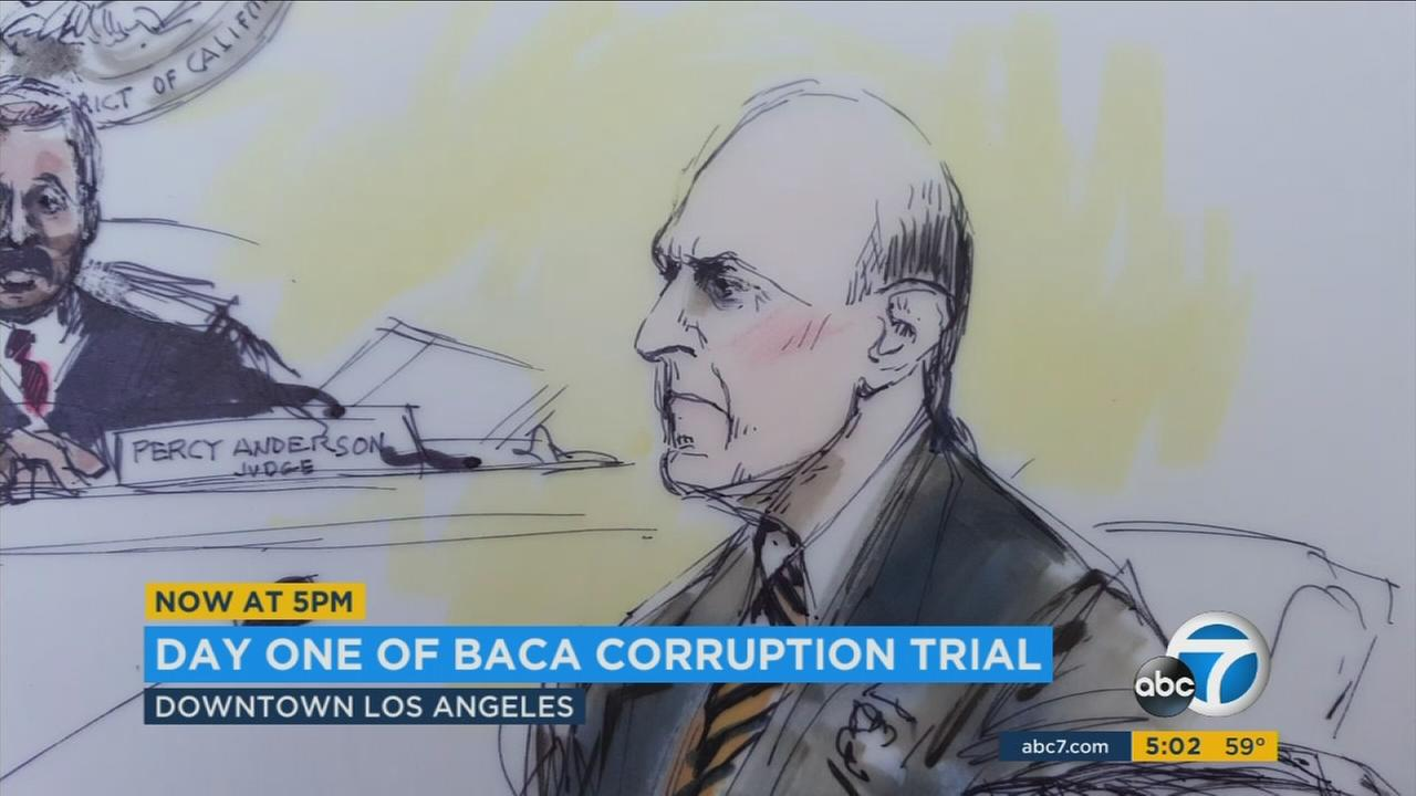 Former Los Angeles County Sheriff Lee Baca is shown in court during the first day of his jail corruption trial on Wednesday, Dec. 7, 2016.