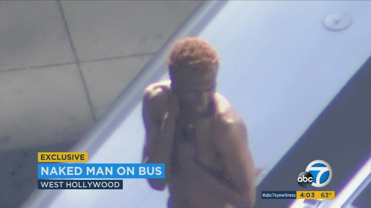 Naked Man Struts, Poses On Top Of Metro Bus In West -8645