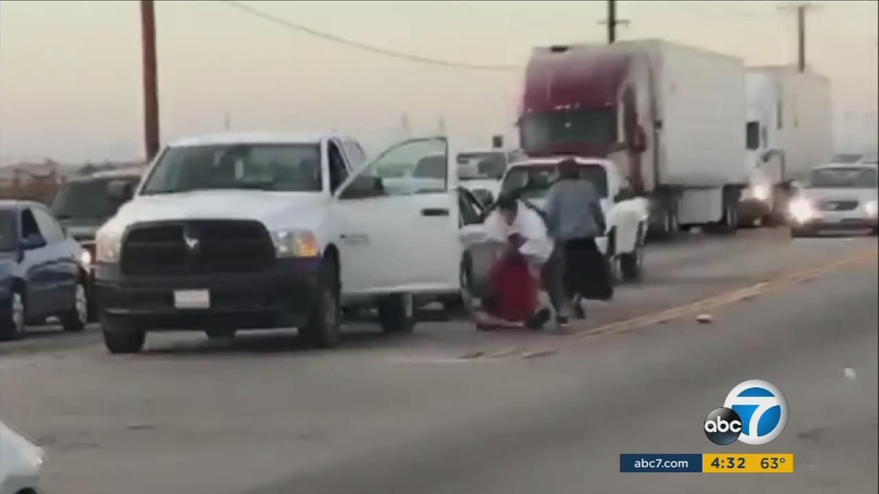 Cellphone video captures three women beating a man in a road rage incident in Victorville on Tuesday, Dec. 6, 2016.