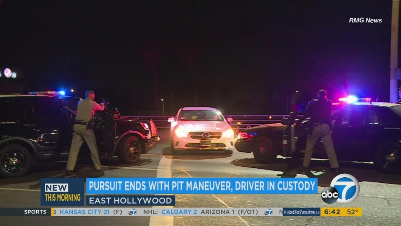 A wild multi-county police chase was brought to a dramatic end with a textbook PIT maneuver from CHP in East Hollywood.