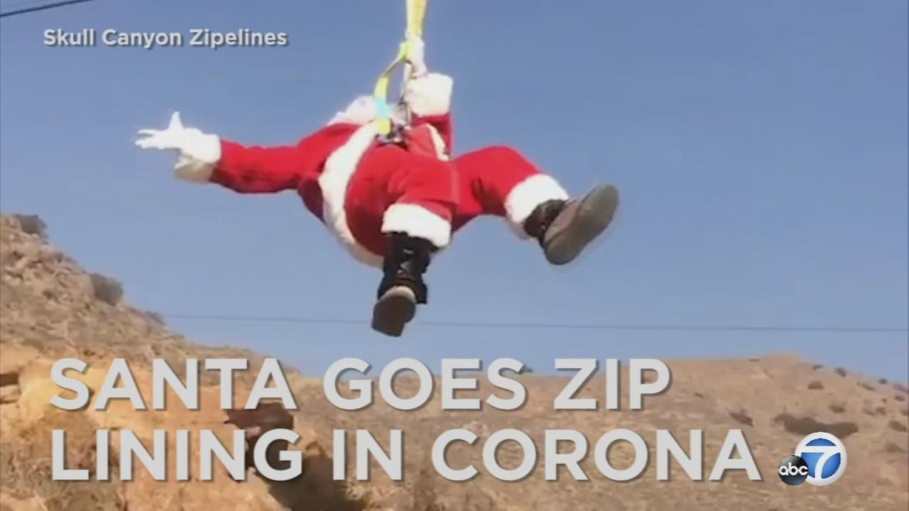 Santa Claus was caught going down a zip line in Corona.