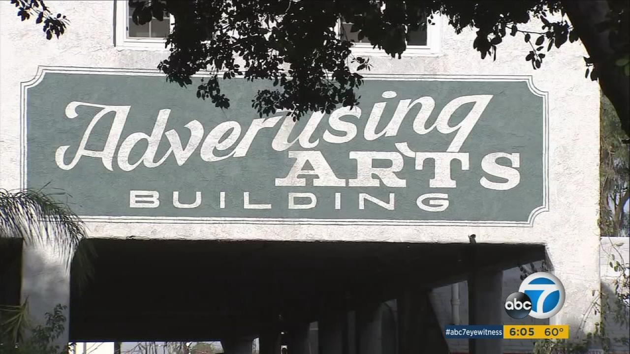 The sign for the Advertising Arts Building in Santa Ana is shown.