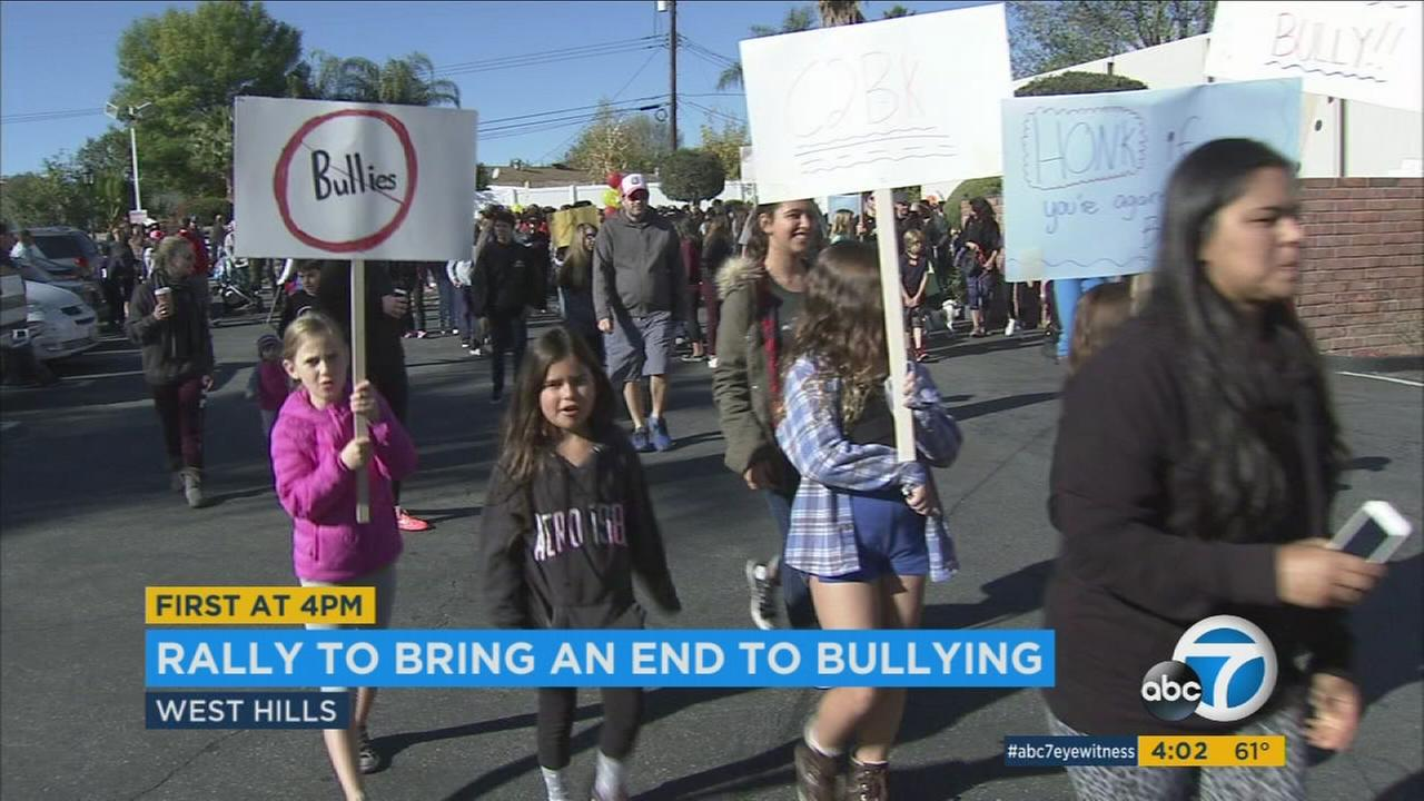 Hundreds of people gathered in West Hills on Saturday to rally against bullying and show their support for a teen whose brutal beating was posted on Snapchat.