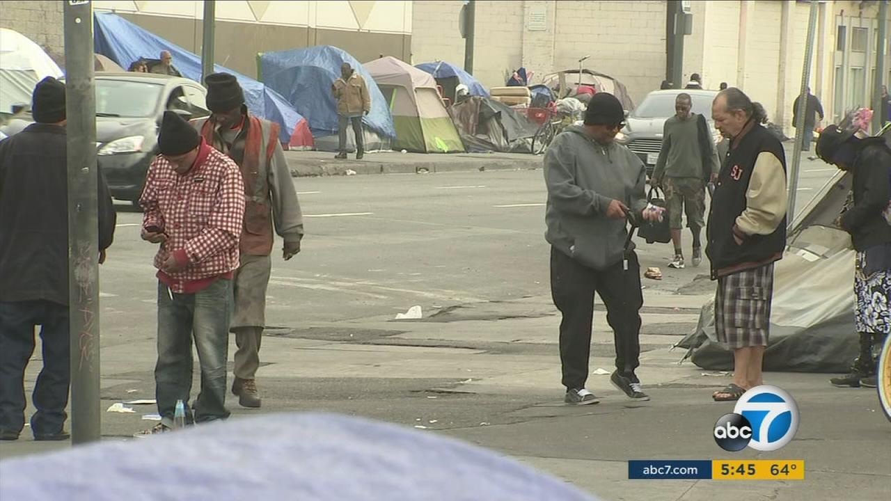 More than 5,000 people live on Skid Row in Los Angeles.