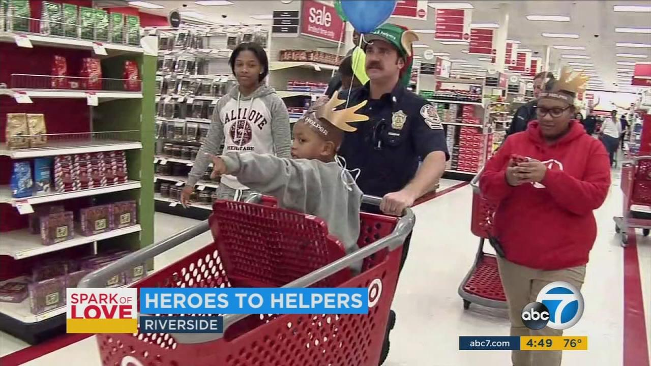 Riverside firefighters became Santas helpers at a Target in the city, helping out eight families in need.