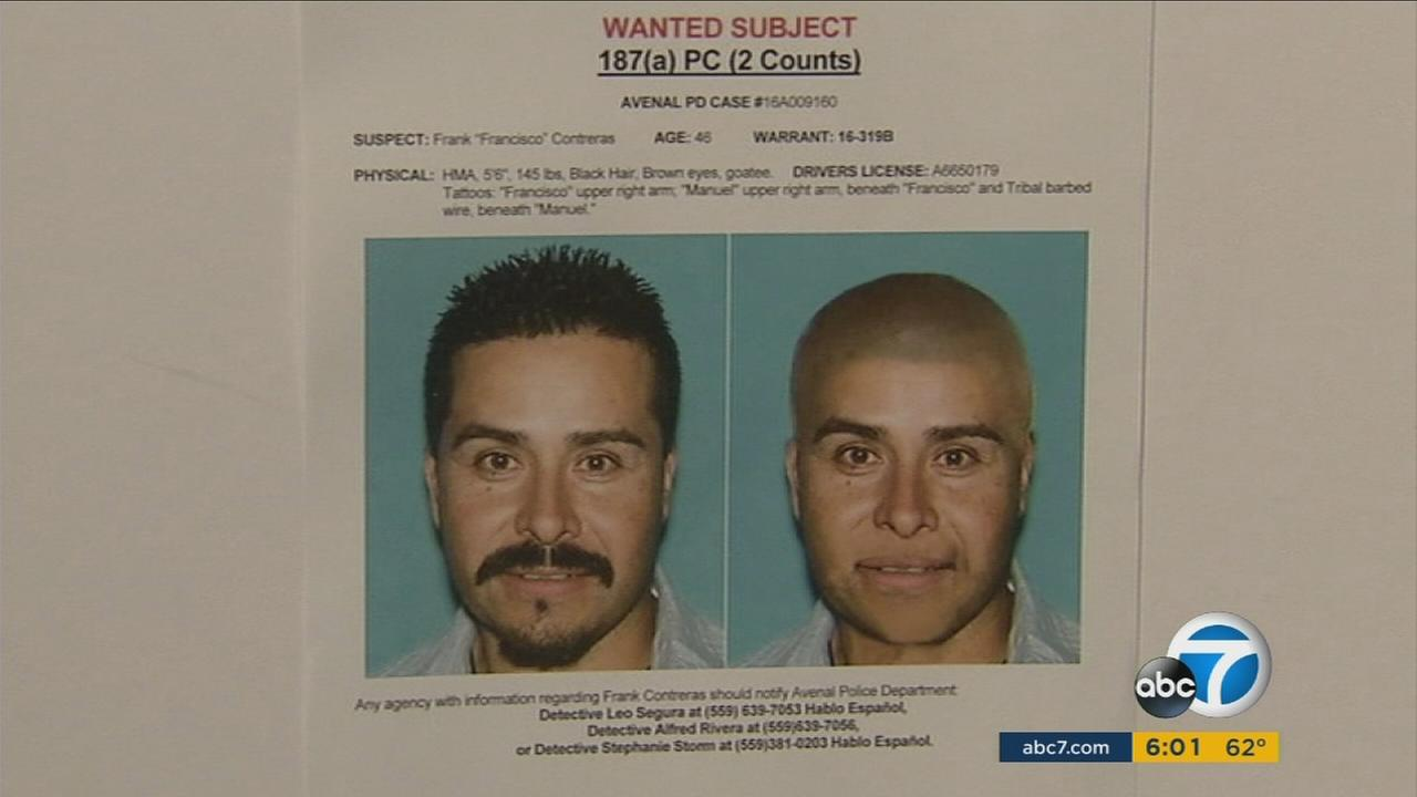 Francisco Contreras, a double-murder suspect, is shown in a police wanted poster.