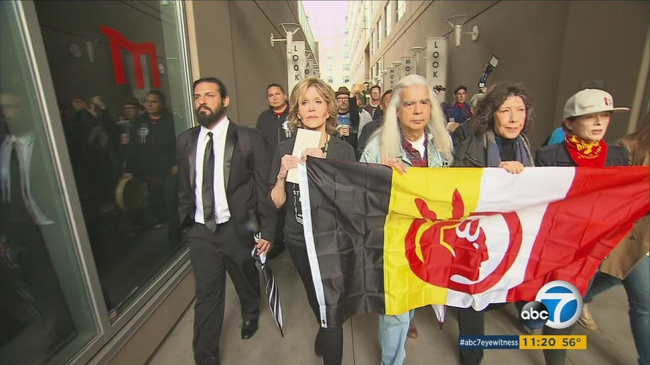 Actress Jane Fonda seen protesting the Dakota Access Pipeline in Los Angeles on Wednesday, Dec. 21, 2016.