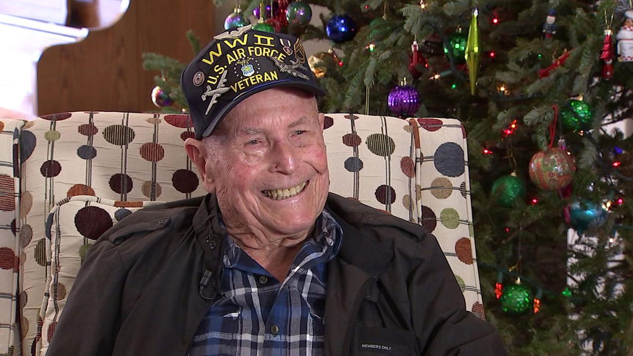 WWII veteran Sgt. Albert Erg, 93, is shown during an interview with ABC7 on Tuesday, Dec. 27, 2016.