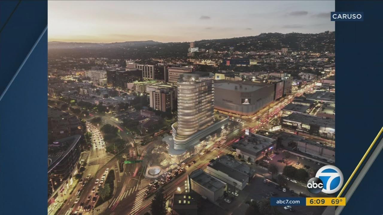 A rendering shows what a 20-story tower developed by Rick Caruso will look like.