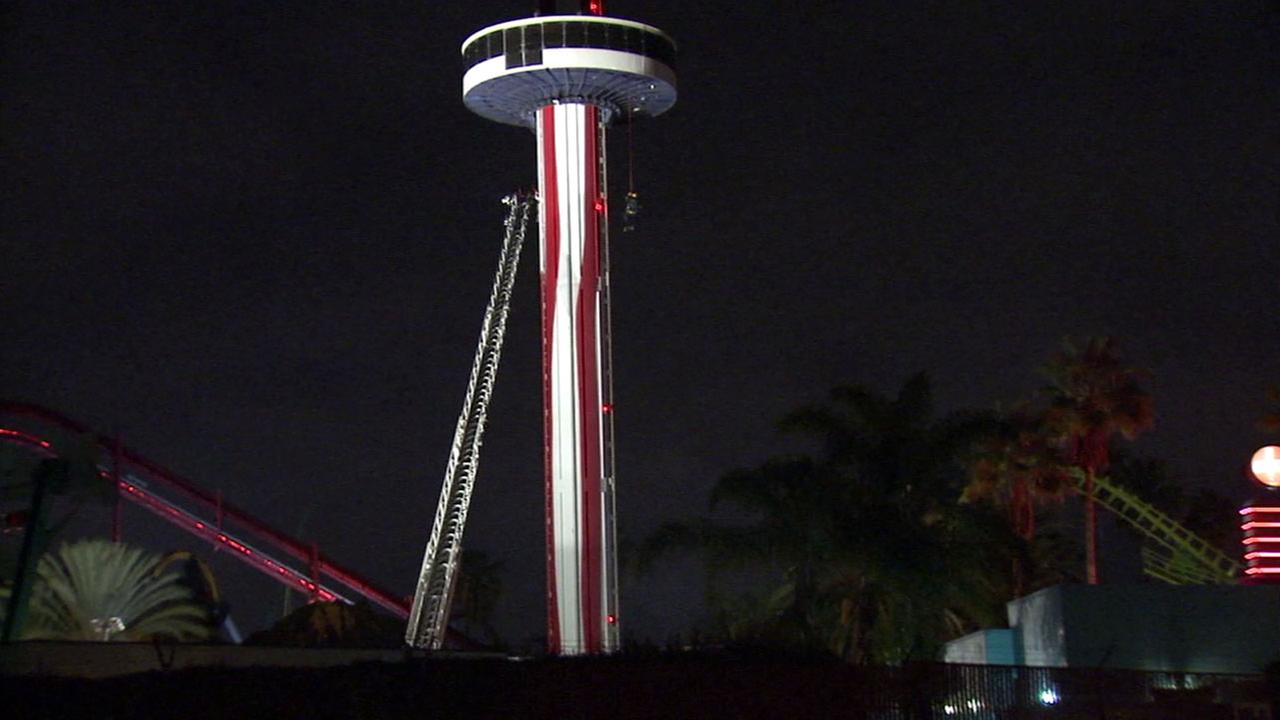 Firefighters rescued 21 people from a Knotts Berry Farm ride after it stuck halfway down on Friday, Dec. 30, 2016.