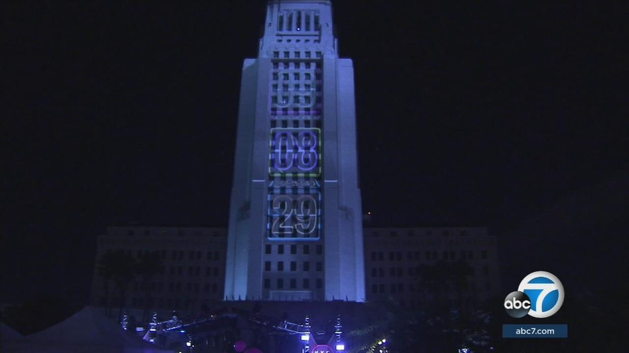 Tens of thousands rang in the new year at Grand Park as LAPD increased security in downtown Los Angeles.