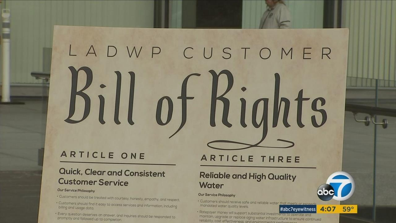The LADWP introduced a customer bill of rights in a move aimed at improving services and increasing public confidence.