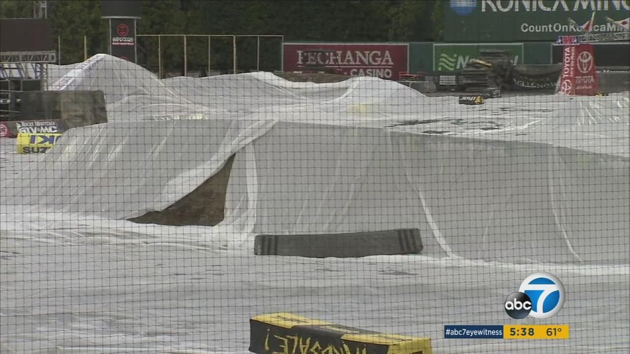 Rain causes concern among racers and organizers for Monster Energy AMA Supercross event series which begins Saturday at Angels Stadium.