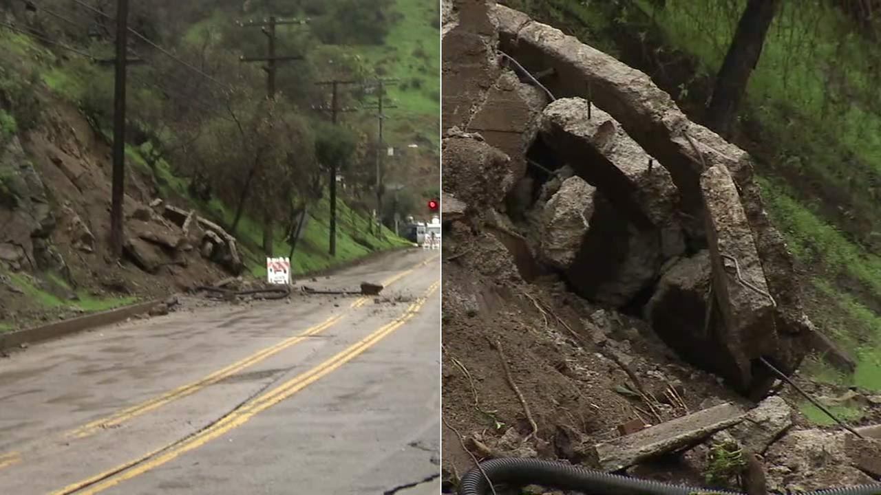 Laurel Canyon Boulevard was shut down after a massive concrete slab slid down the hillside.