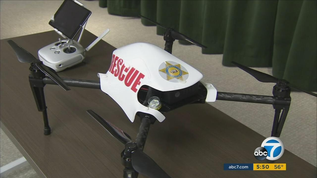 An Unmanned Aircraft System launched to help the Los Angeles County Sheriffs Department during tactical operations.