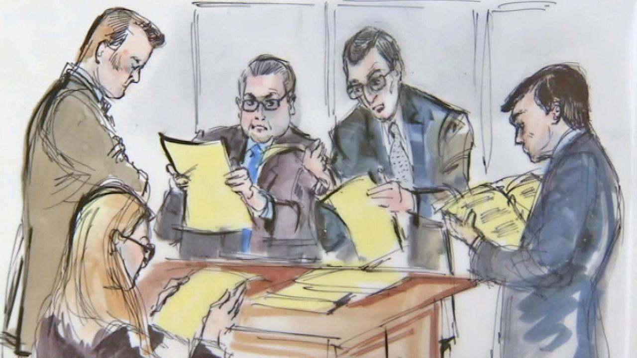 Attorneys in the Bryan Stow lawsuit are depicted in a court drawing Tuesday, July 8, 2014.