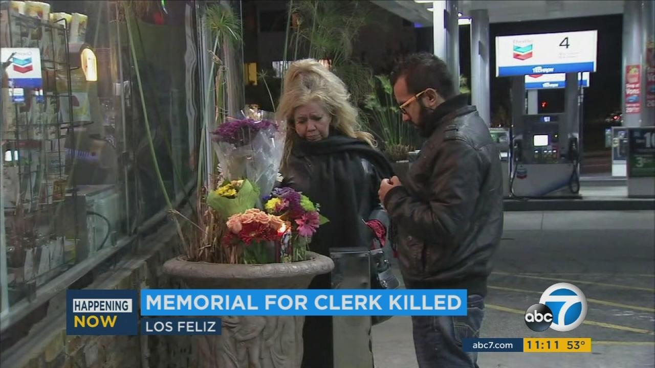 A memorial has been placed at a Chevron station in Los Feliz where an employee was shot and killed in a robbery.