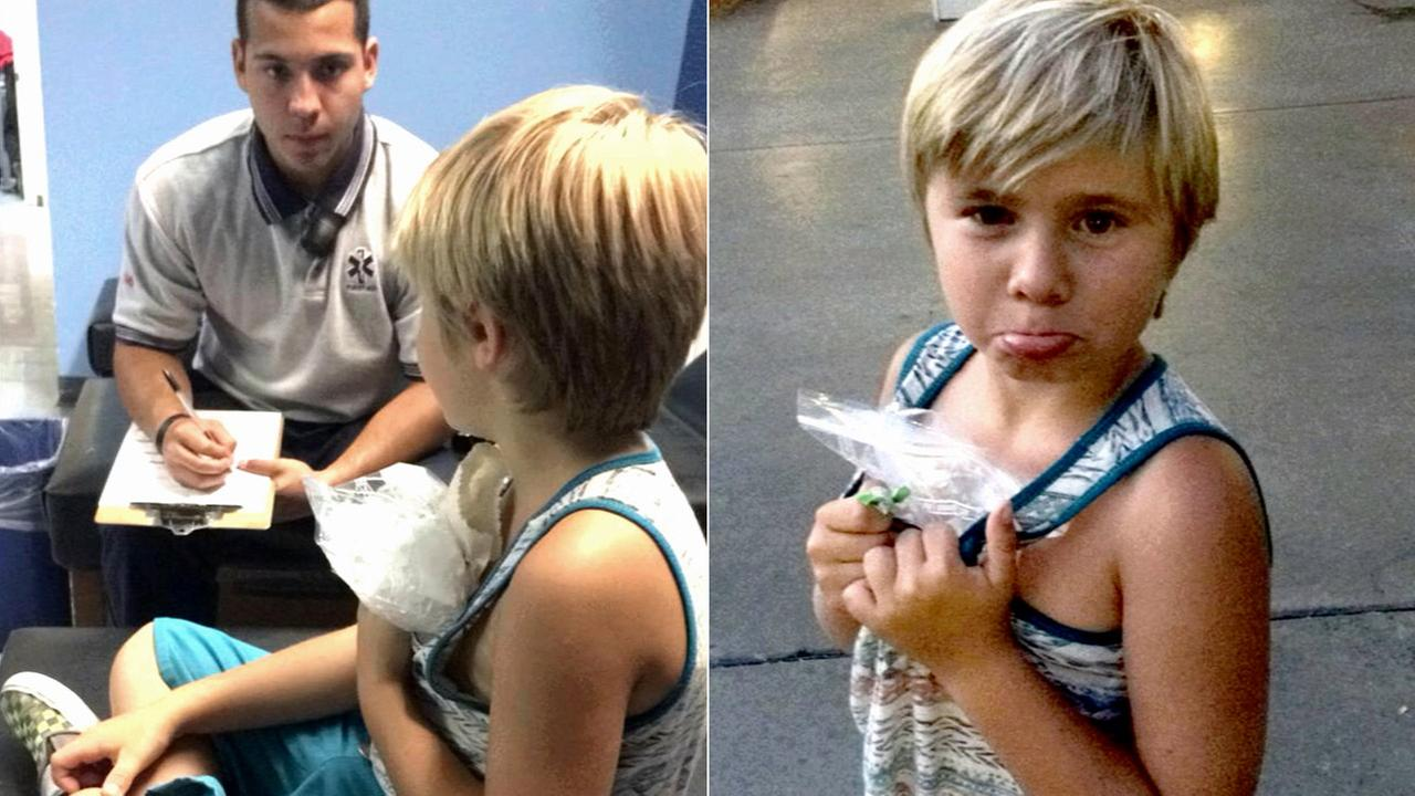 Hayden Doughty, 9, is seen after his family says he was hit by a tree branch on the Ninja roller-coaster at Six Flags on Monday, July 7, 2014.