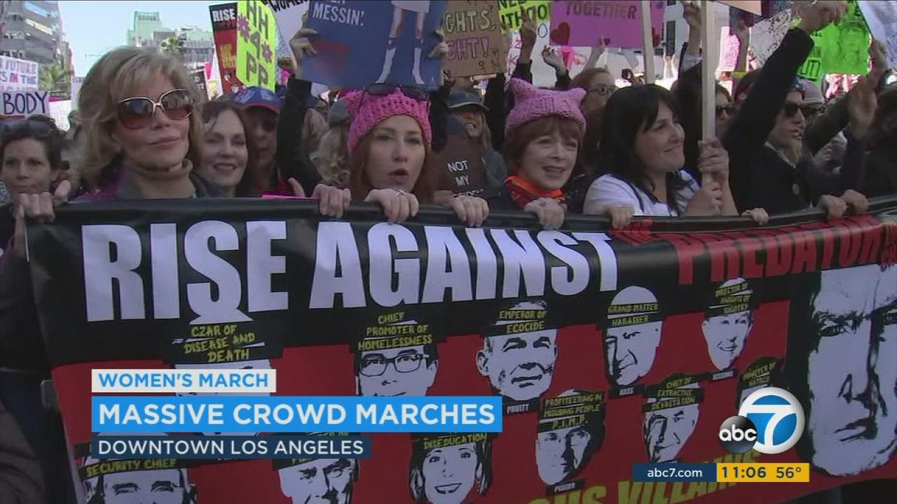 The streets were flooded with crowds of people attending the Womens March in downtown Los Angeles Saturday.