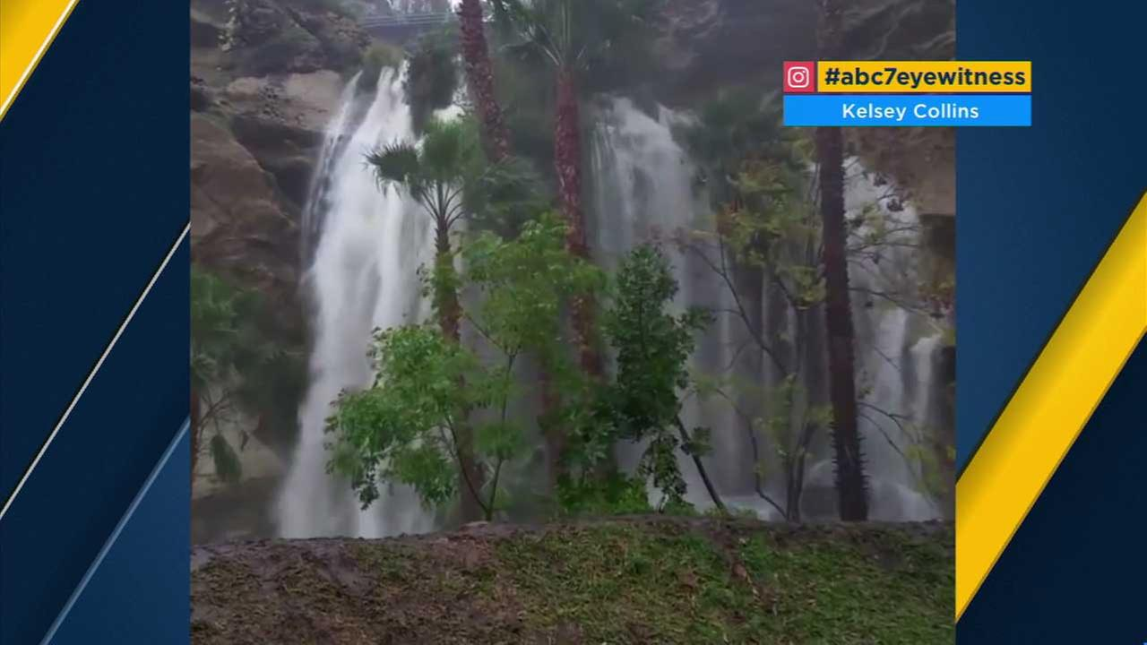 The latest downpours across Southern California created a spectacular waterfall in Dana Point.