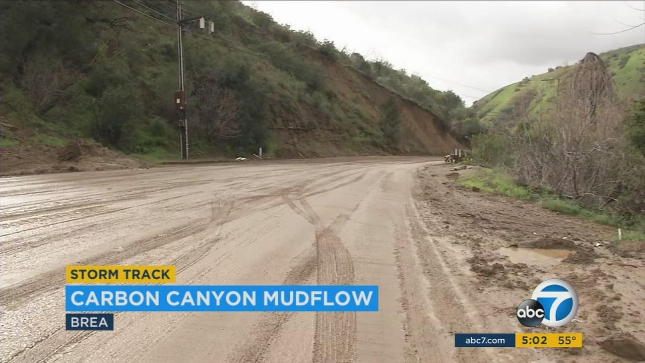 Carbon Canyon Road seen covered in mud in Brea on Monday, Jan. 23, 2017.