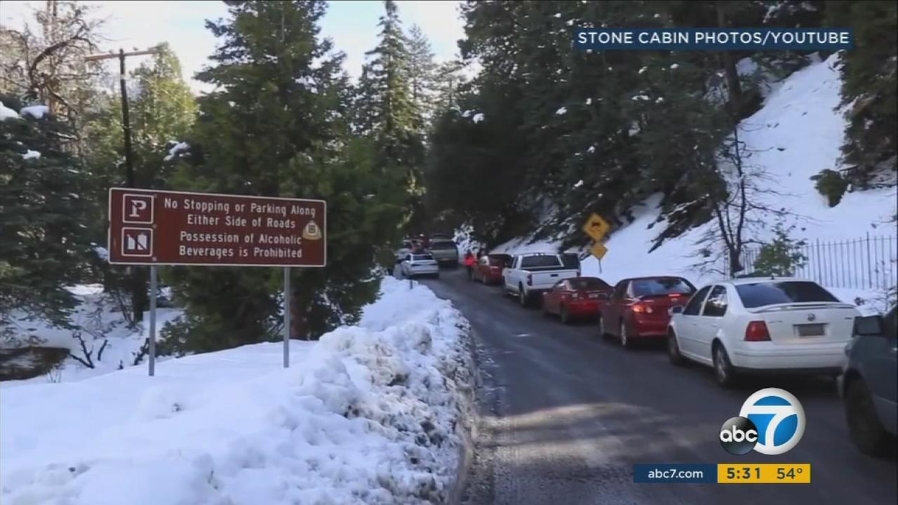 A Forest Falls resident took video of the traffic on the only road in and out of the community.