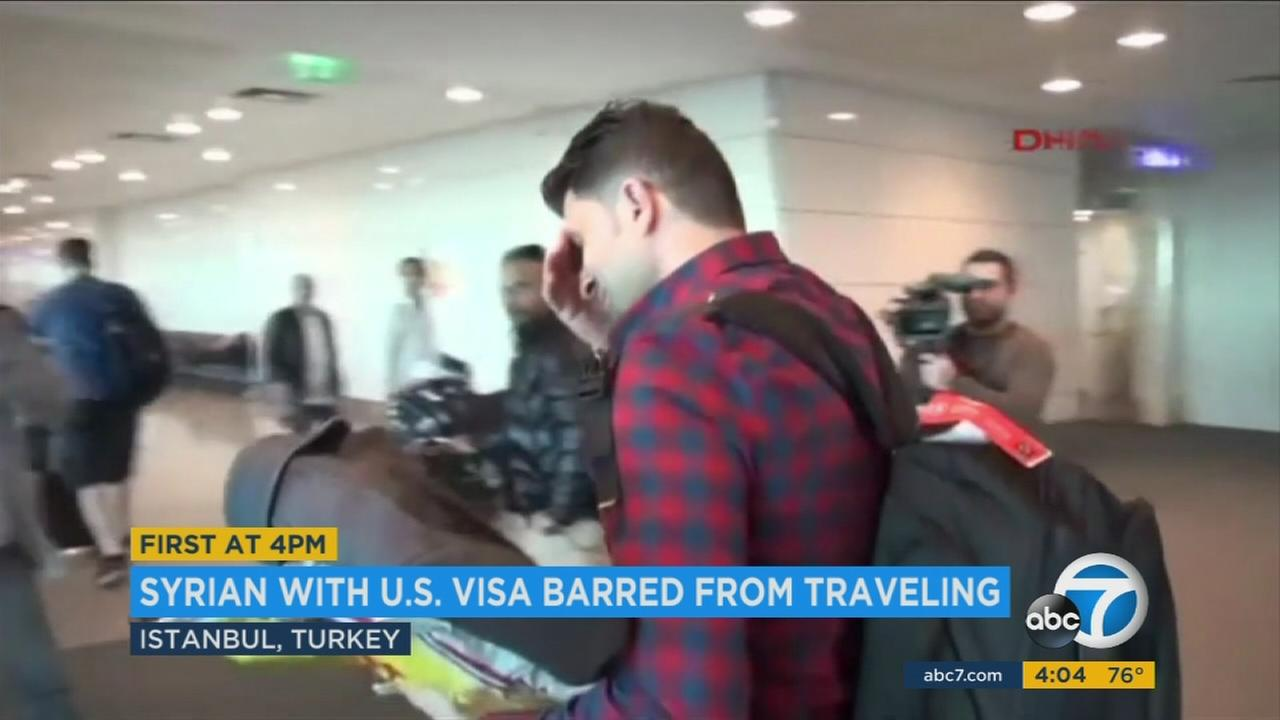 A Syrian man was kept from seeing his wife and son in Los Angeles due to President Donald Trumps travel ban.