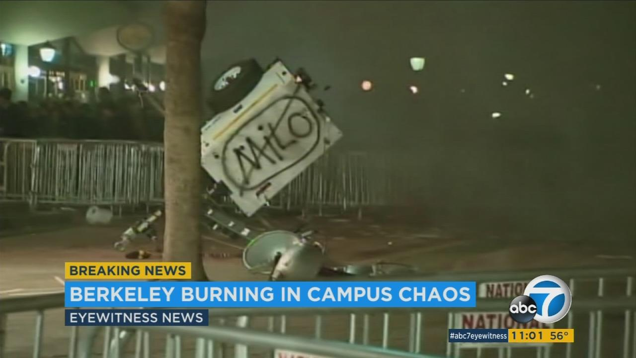 A protest turned violent on the campus of UC Berkeley against a controversial far-right Breitbart news editor.